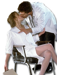 Doctor kisses nurse